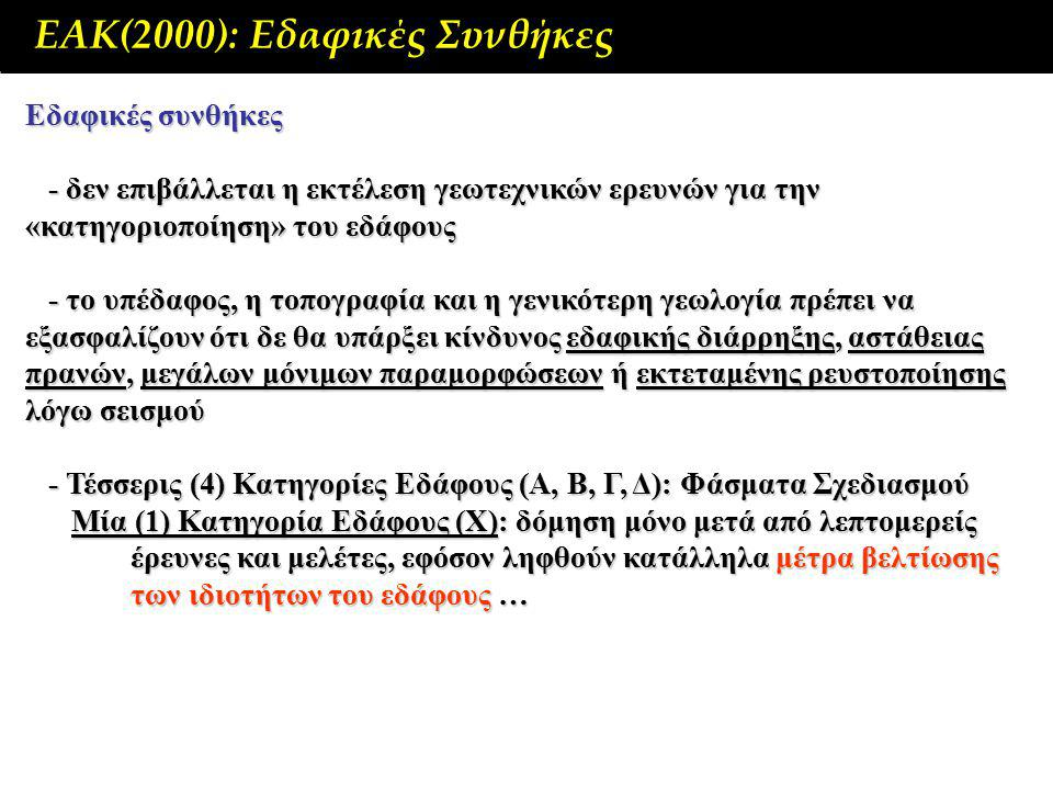 ΕΑΚ(2000): Εδαφικές Συνθήκες