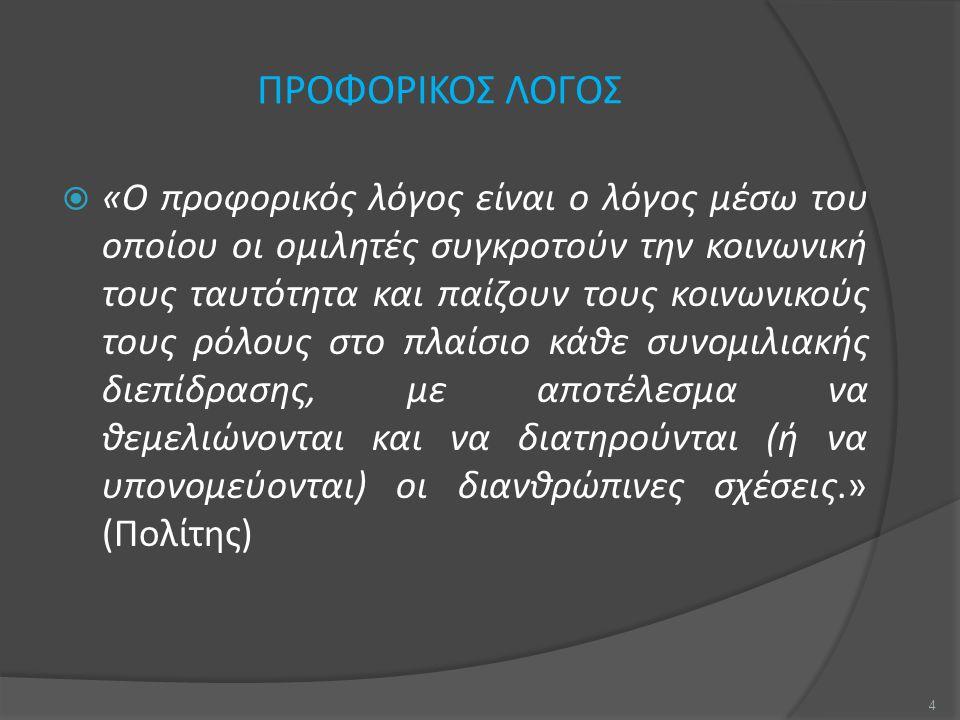 ΠΡΟΦΟΡΙΚΟΣ ΛΟΓΟΣ