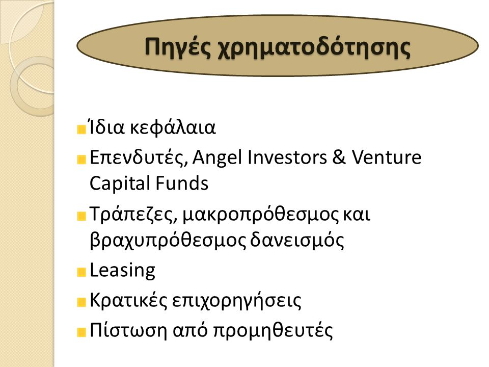 Πηγές χρηματοδότησης Ίδια κεφάλαια
