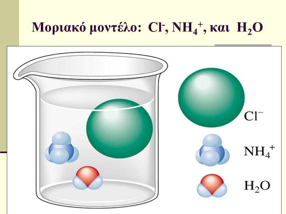Μοριακό μοντέλο: Cl-, NH4+, και H2O