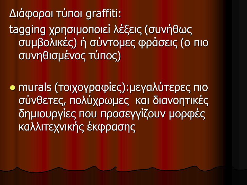 Διάφοροι τύποι graffiti: