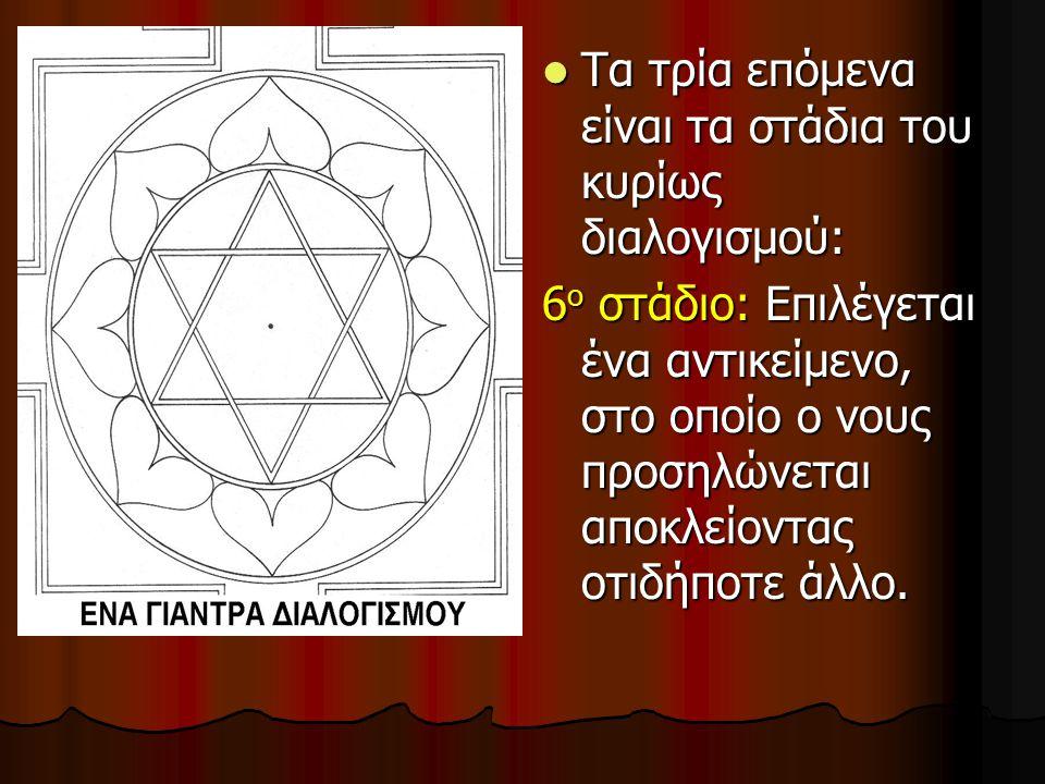 Τα τρία επόμενα είναι τα στάδια του κυρίως διαλογισμού: