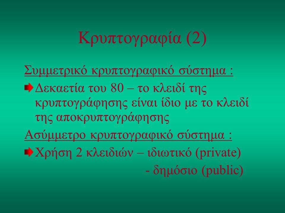 Κρυπτογραφία (2) Συμμετρικό κρυπτογραφικό σύστημα :