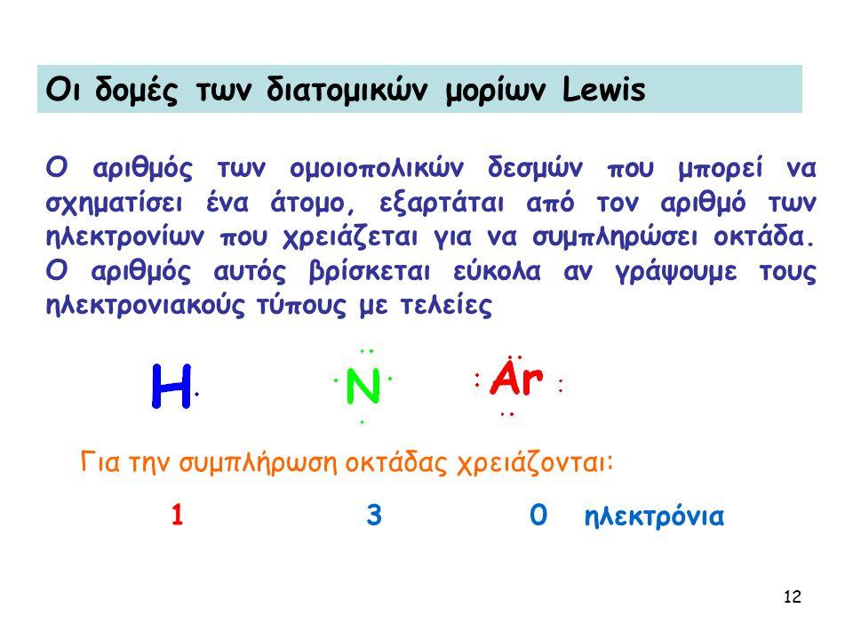 Oι δομές των διατομικών μορίων Lewis