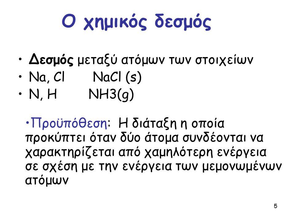 Ο χημικός δεσμός Δεσμός μεταξύ ατόμων των στοιχείων Na, Cl NaCl (s)