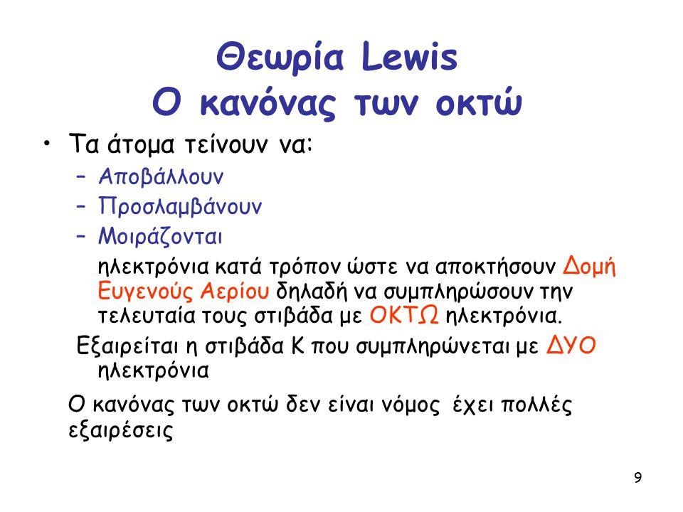 Θεωρία Lewis O κανόνας των οκτώ