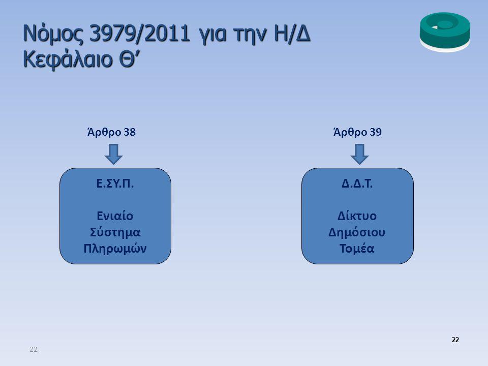 Νόμος 3979/2011 για την Η/Δ Κεφάλαιο Θ' Ε.ΣΥ.Π. Ενιαίο Σύστημα