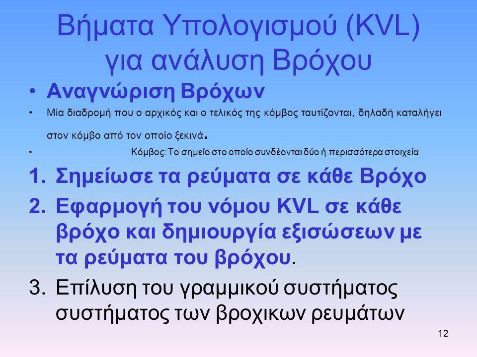 Βήματα Υπολογισμού (KVL) για ανάλυση Βρόχου