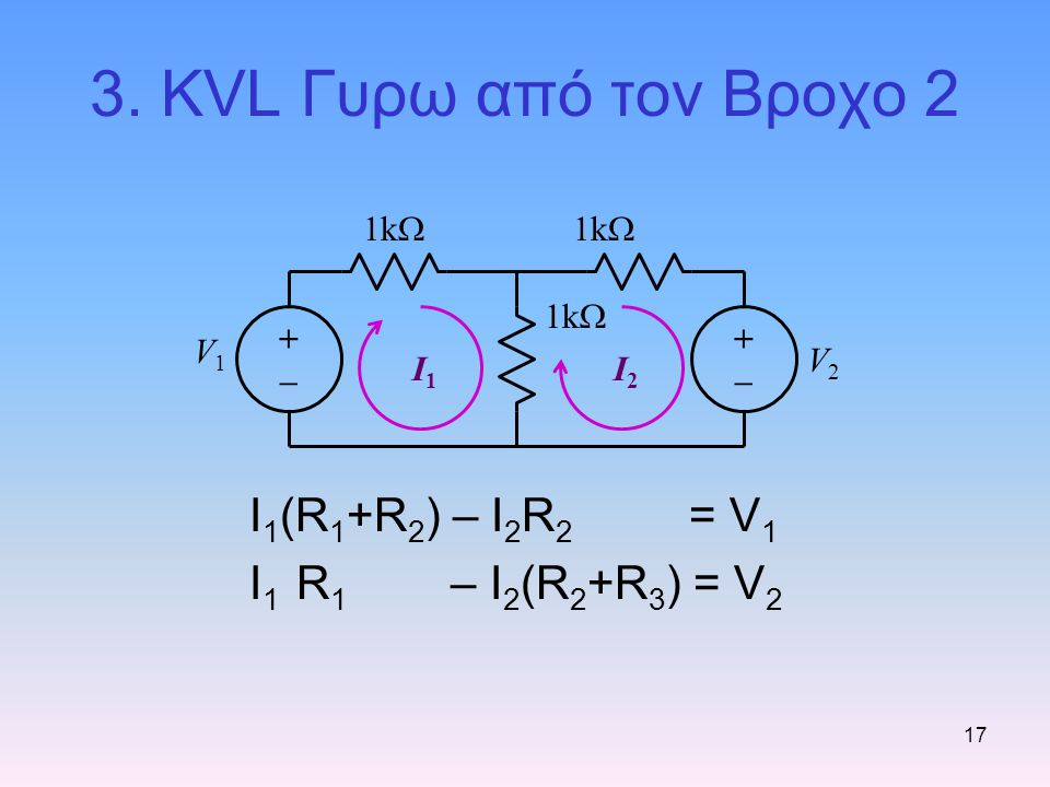 3. KVL Γυρω από τον Βροχο 2 I1(R1+R2) – I2R2 = V1