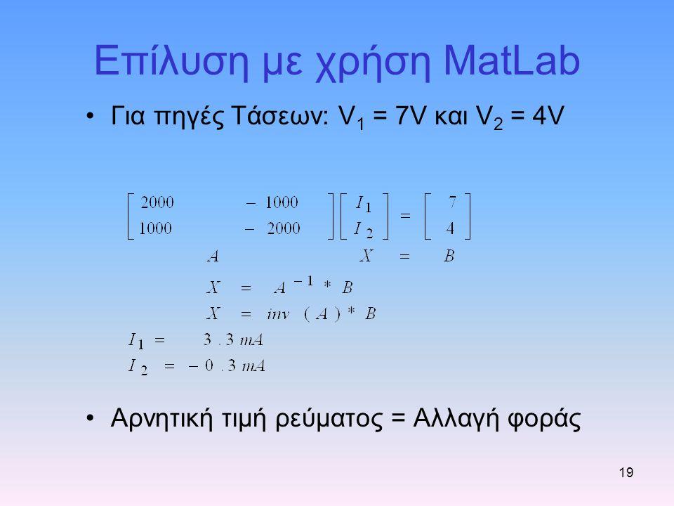 Επίλυση με χρήση MatLab