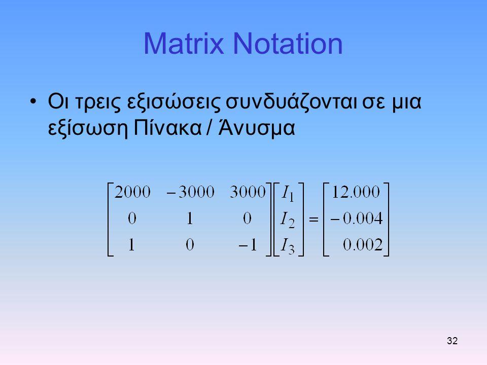 Matrix Notation Οι τρεις εξισώσεις συνδυάζονται σε μια εξίσωση Πίνακα / Άνυσμα