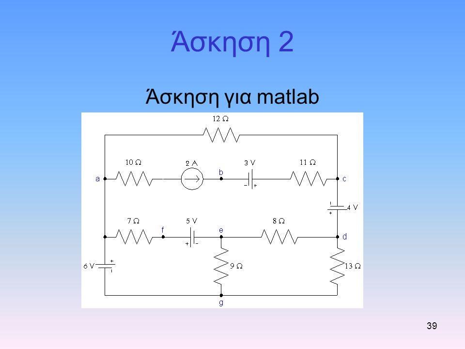 Άσκηση 2 Άσκηση για matlab