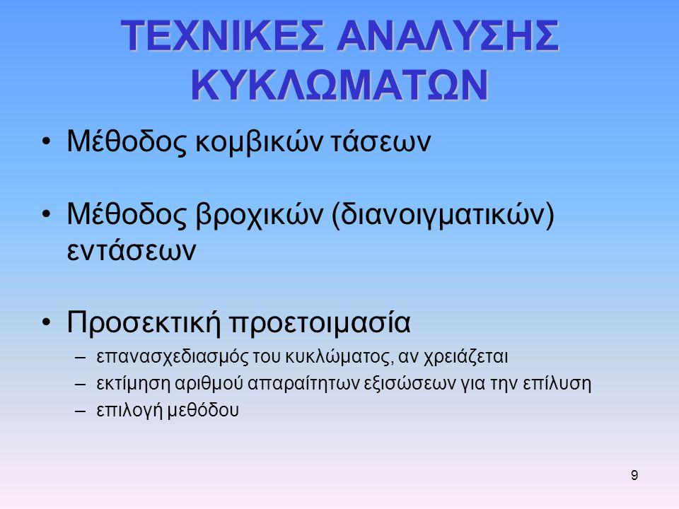 ΤΕΧΝΙΚΕΣ ΑΝΑΛΥΣΗΣ ΚΥΚΛΩΜΑΤΩΝ