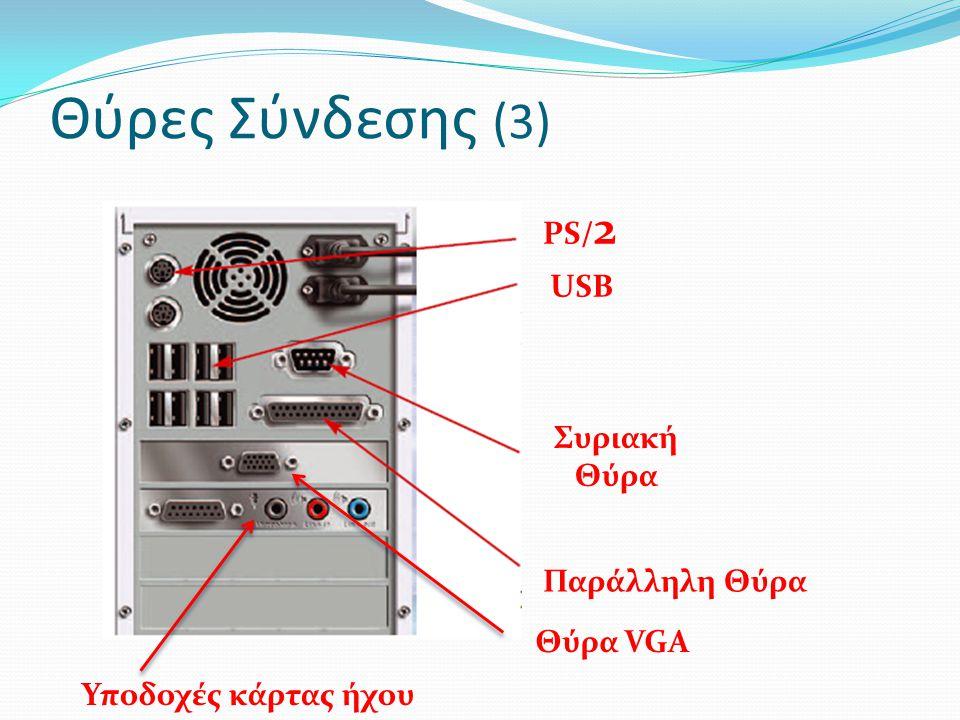 Θύρες Σύνδεσης (3) PS/2 USB Συριακή Θύρα Παράλληλη Θύρα Θύρα VGA