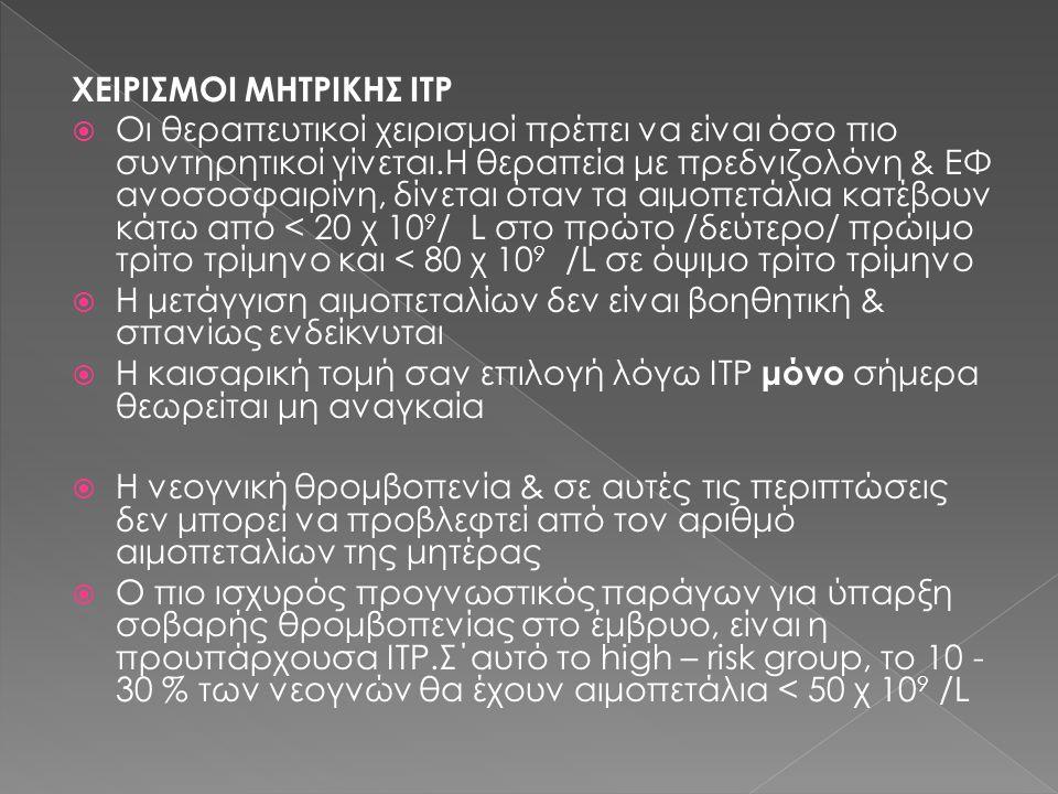 ΧΕΙΡΙΣΜΟΙ ΜΗΤΡΙΚΗΣ ITP