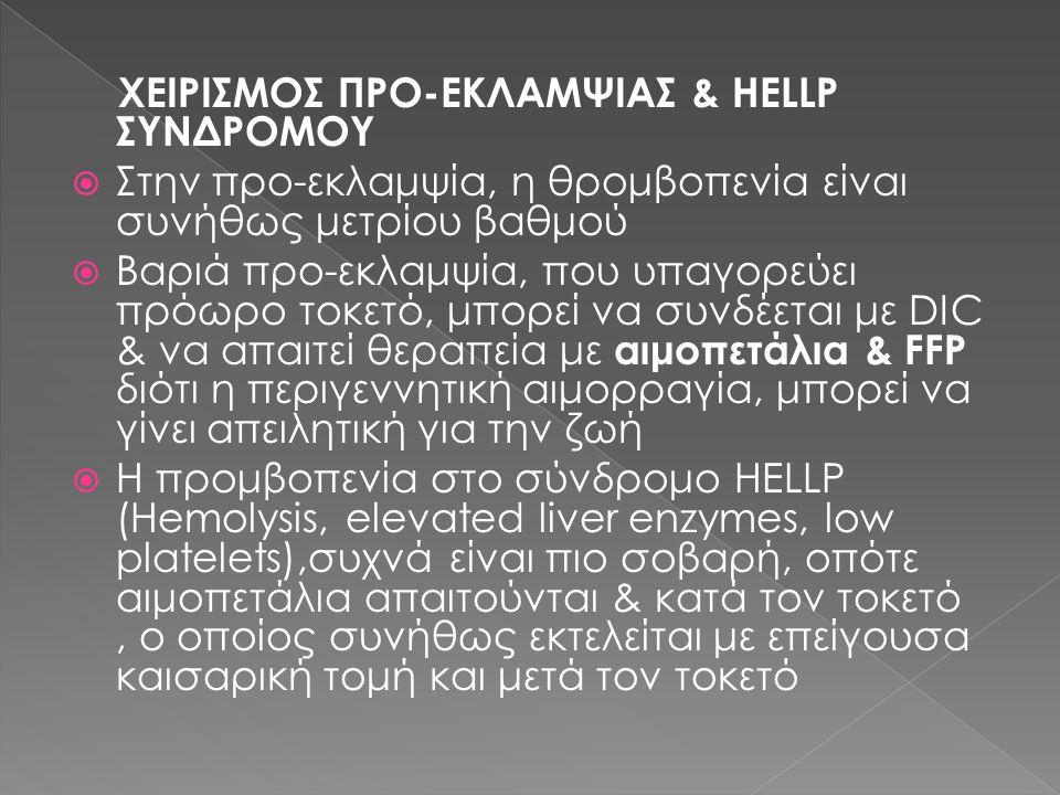 ΧΕΙΡΙΣΜΟΣ ΠΡΟ-ΕΚΛΑΜΨΙΑΣ & HELLP ΣΥΝΔΡΟΜΟΥ