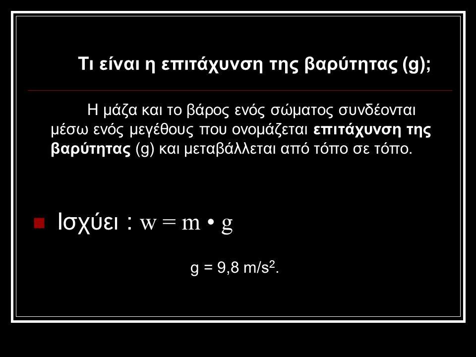 Ισχύει : w = m • g Τι είναι η επιτάχυνση της βαρύτητας (g);