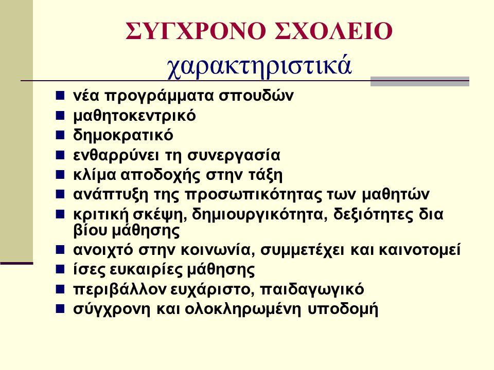 ΣΥΓΧΡΟΝΟ ΣΧΟΛΕΙΟ χαρακτηριστικά