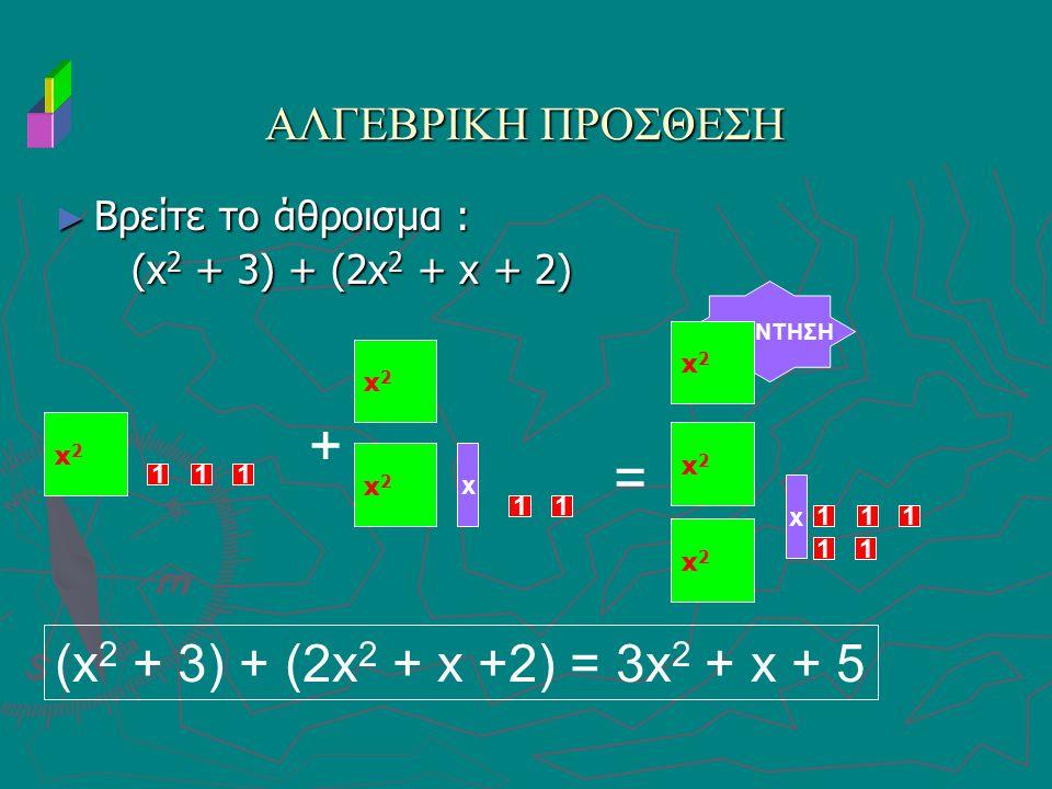 + = (x2 + 3) + (2x2 + x +2) = 3x2 + x + 5 ΑΛΓΕΒΡΙΚΗ ΠΡΟΣΘΕΣΗ