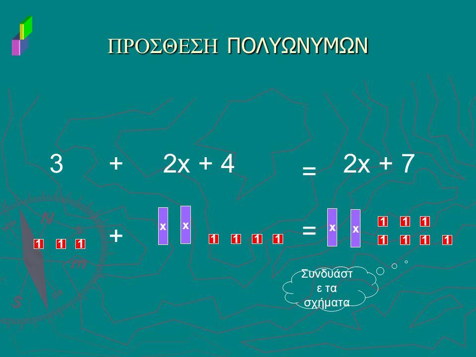 3 + 2x + 4 2x + 7 = = + ΠΡΟΣΘΕΣΗ ΠΟΛΥΩΝΥΜΩΝ x x x x 1 1 1 1 1 1 1 1 1