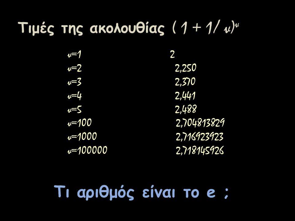 Τιμές της ακολουθίας ( 1 + 1/ ν)ν