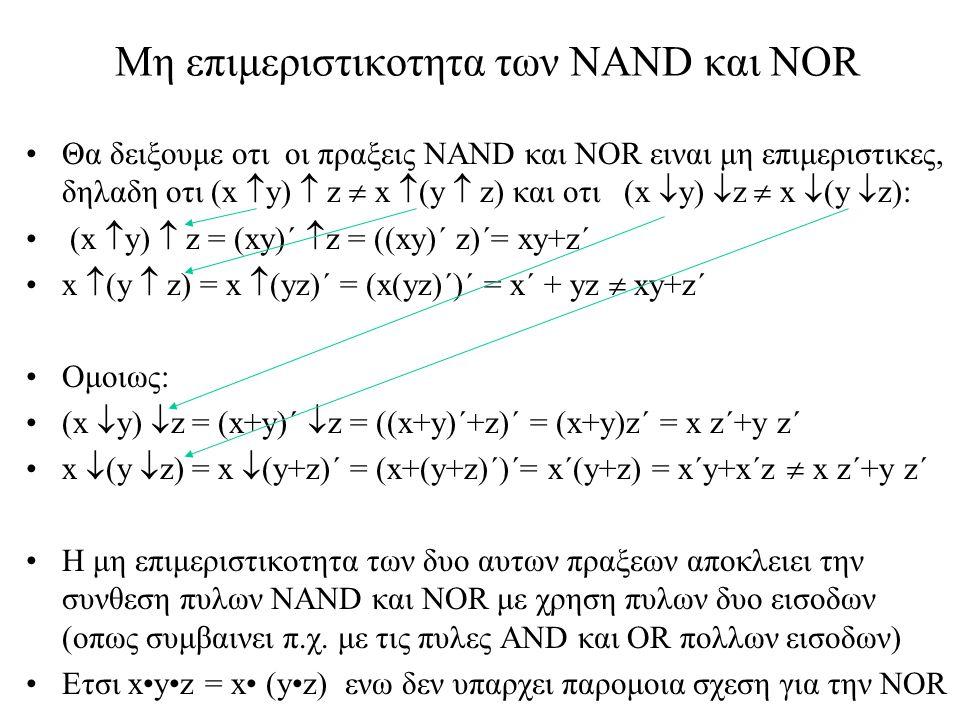 Μη επιμεριστικοτητα των NAND και NOR