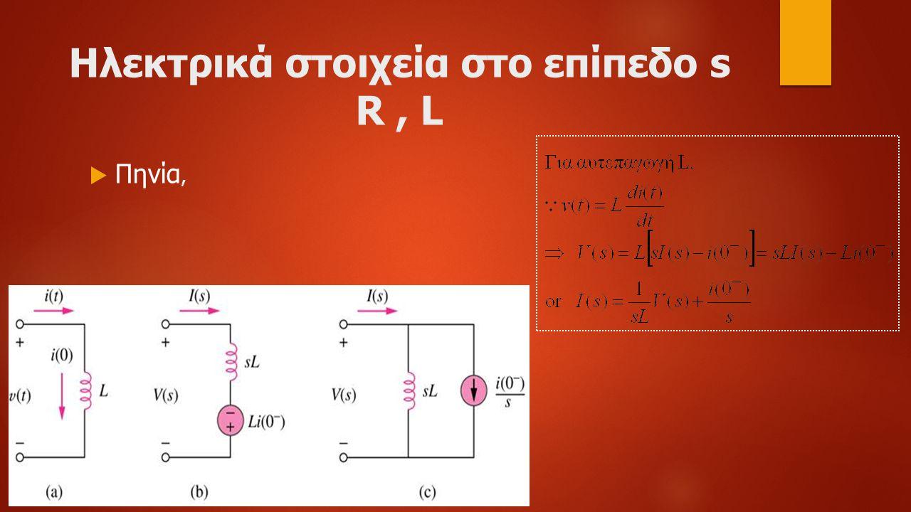 Ηλεκτρικά στοιχεία στο επίπεδο s R , L