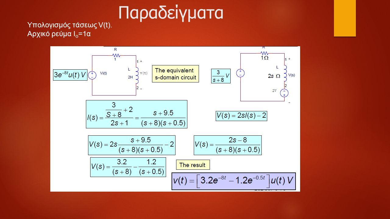 Παραδείγματα Υπολογισμός τάσεως V(t). Αρχικό ρεύμα Ιο=1α