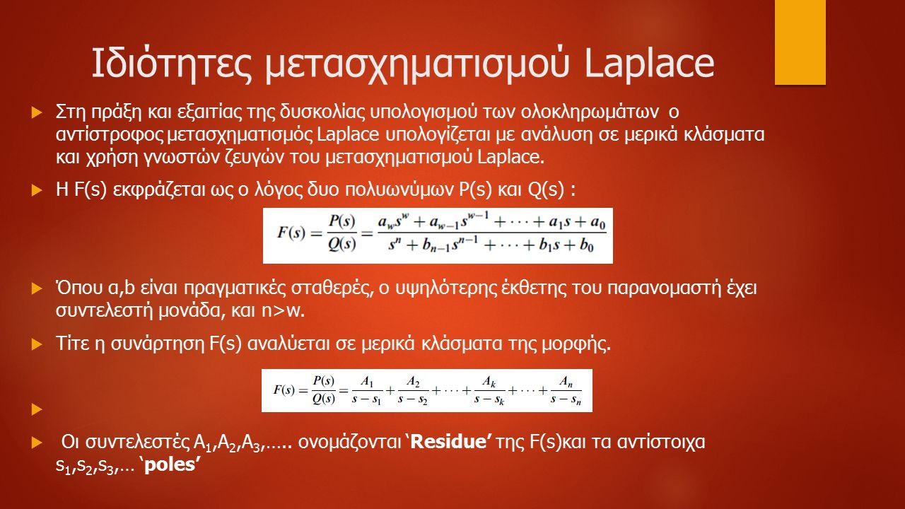 Ιδιότητες μετασχηματισμού Laplace