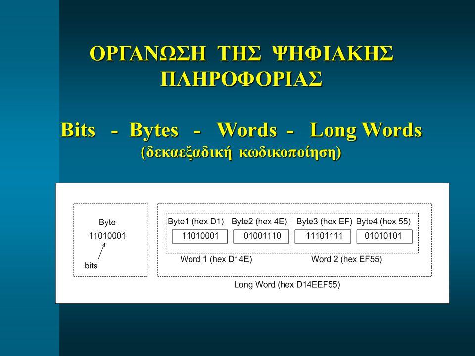 ΟΡΓΑΝΩΣΗ ΤΗΣ ΨΗΦΙΑΚΗΣ ΠΛΗΡΟΦΟΡΙΑΣ Bits - Bytes - Words - Long Words