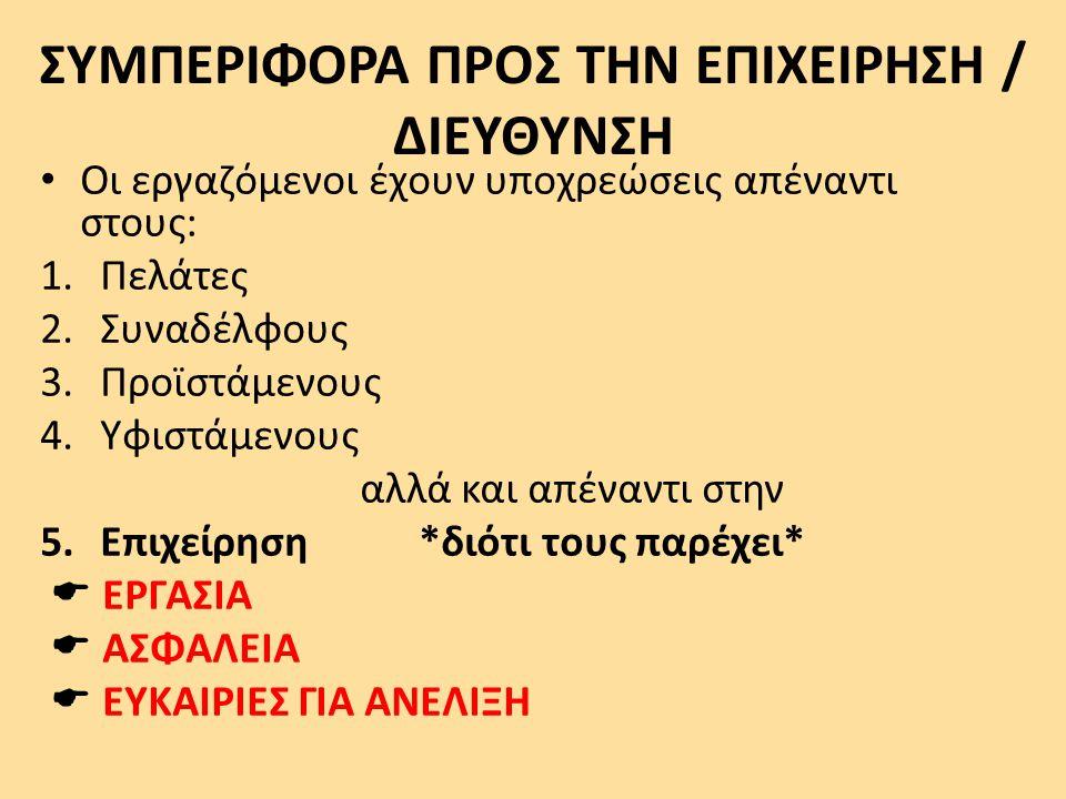ΣΥΜΠΕΡΙΦΟΡΑ ΠΡΟΣ ΤΗΝ ΕΠΙΧΕΙΡΗΣΗ / ΔΙΕΥΘΥΝΣΗ