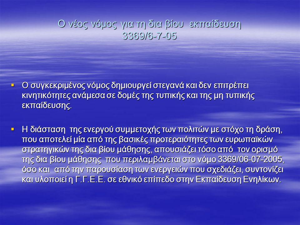Ο νέος νόμος για τη δια βίου εκπαίδευση 3369/6-7-05