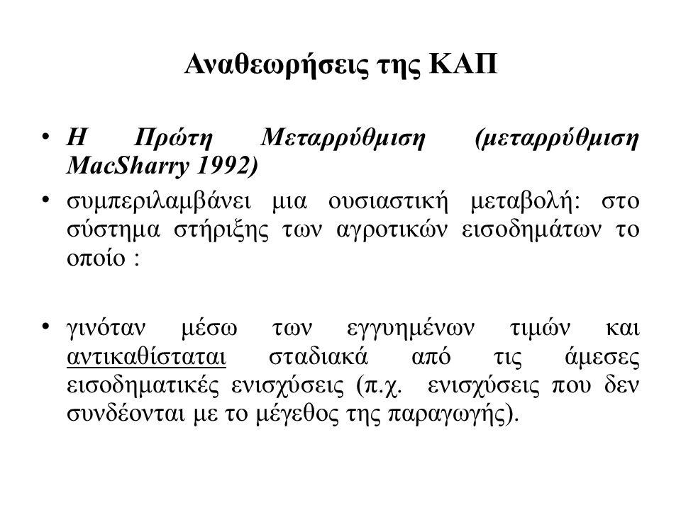 Αναθεωρήσεις της ΚΑΠ Η Πρώτη Μεταρρύθμιση (μεταρρύθμιση MacSharry 1992)