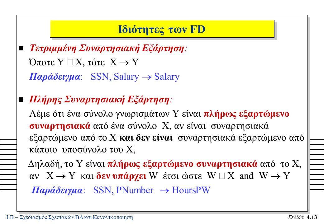 Ιδιότητες των FD Τετριμμένη Συναρτησιακή Εξάρτηση: