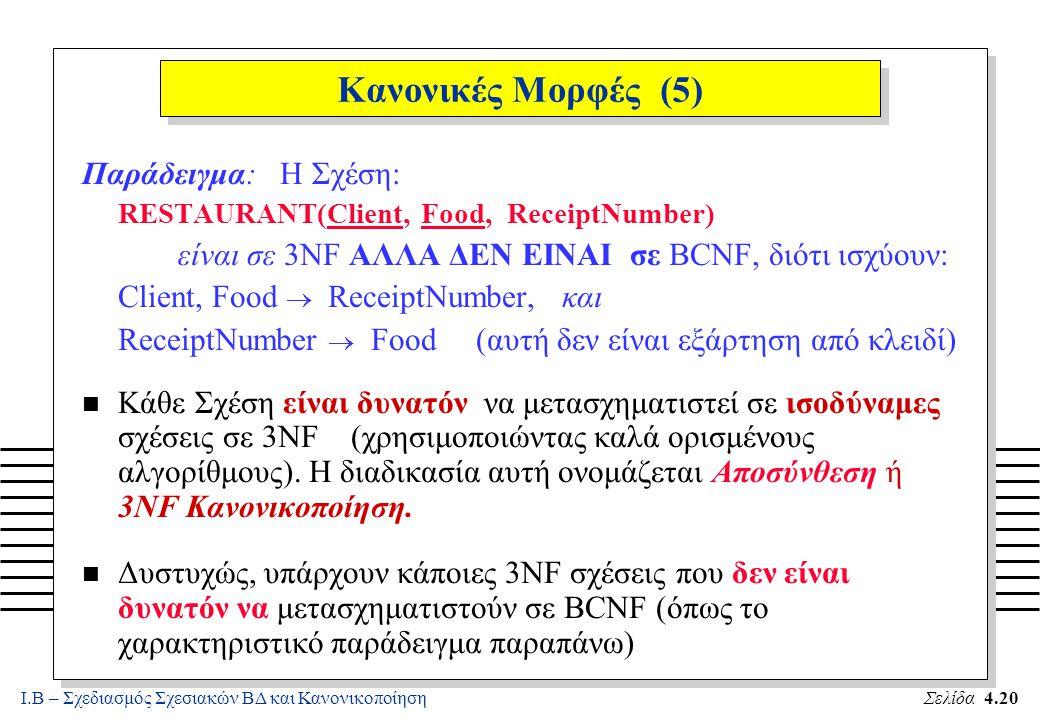 Κανονικές Μορφές (5) Παράδειγμα: Η Σχέση: