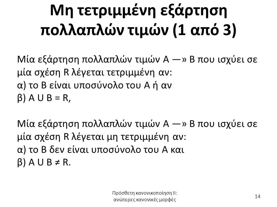 Μη τετριμμένη εξάρτηση πολλαπλών τιμών (1 από 3)