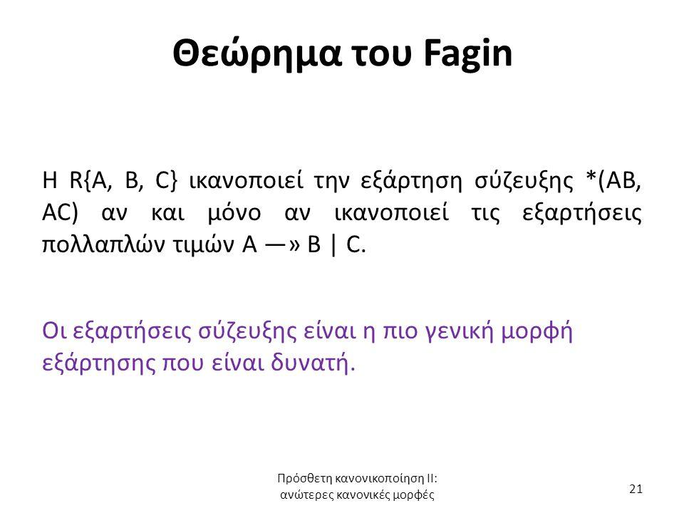 Θεώρημα του Fagin Η R{A, B, C} ικανοποιεί την εξάρτηση σύζευξης *(AB, AC) αν και μόνο αν ικανοποιεί τις εξαρτήσεις πολλαπλών τιμών Α —» Β | C.