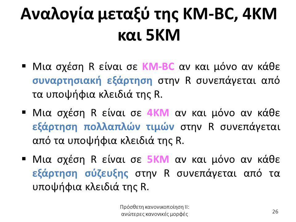 Αναλογία μεταξύ της KM-BC, 4KM και 5ΚΜ