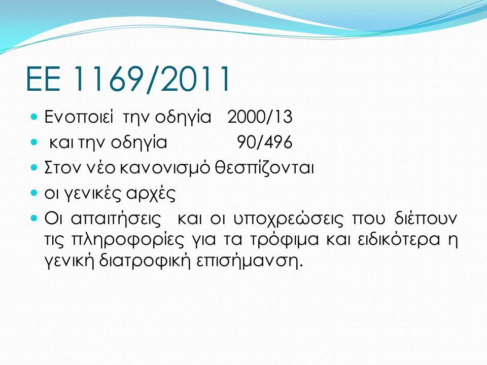 ΕΕ 1169/2011 Ενοποιεί την οδηγία 2000/13 και την οδηγία 90/496