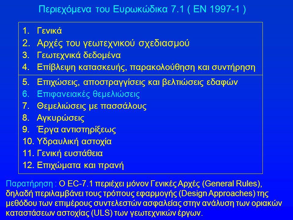 Περιεχόμενα του Ευρωκώδικα 7.1 ( EN 1997-1 )