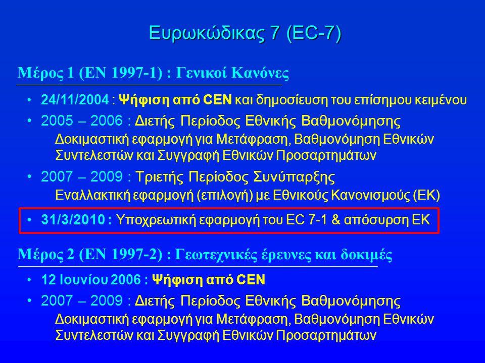 Ευρωκώδικας 7 (EC-7) Μέρος 1 (ΕΝ 1997-1) : Γενικοί Κανόνες