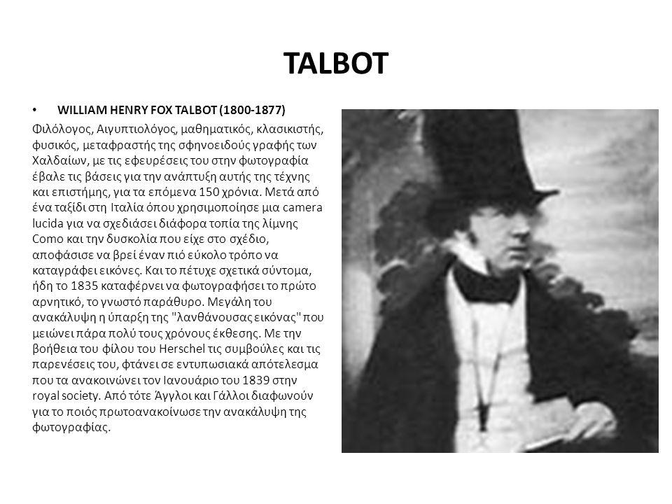 TALBOT WILLIAM HENRY FOX TALBOT (1800-1877)