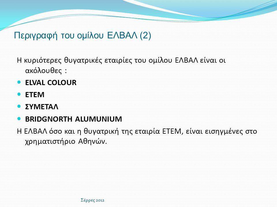 Περιγραφή του ομίλου ΕΛΒΑΛ (2)