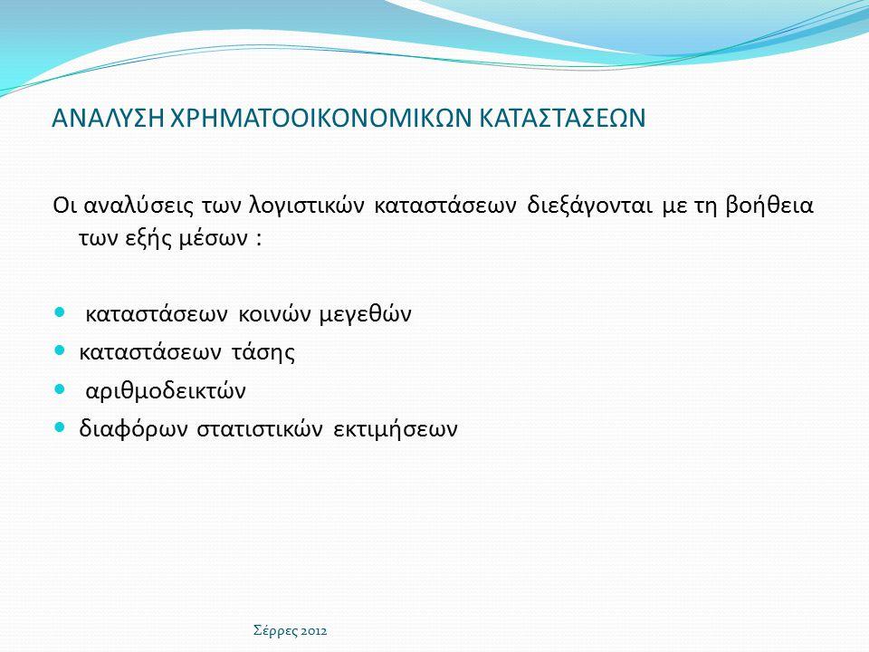 ΑΝΑΛΥΣΗ ΧΡΗΜΑΤΟΟΙΚΟΝΟΜΙΚΩΝ ΚΑΤΑΣΤΑΣΕΩΝ