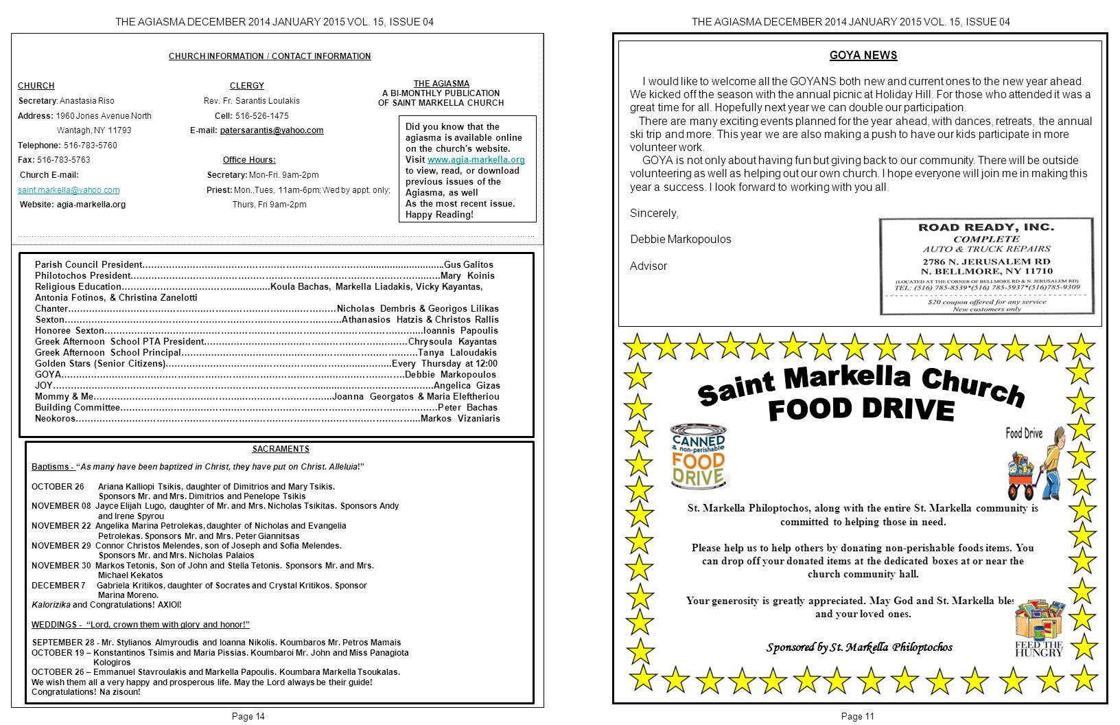 A BI-MONTHLY PUBLICATION OF SAINT MARKELLA CHURCH
