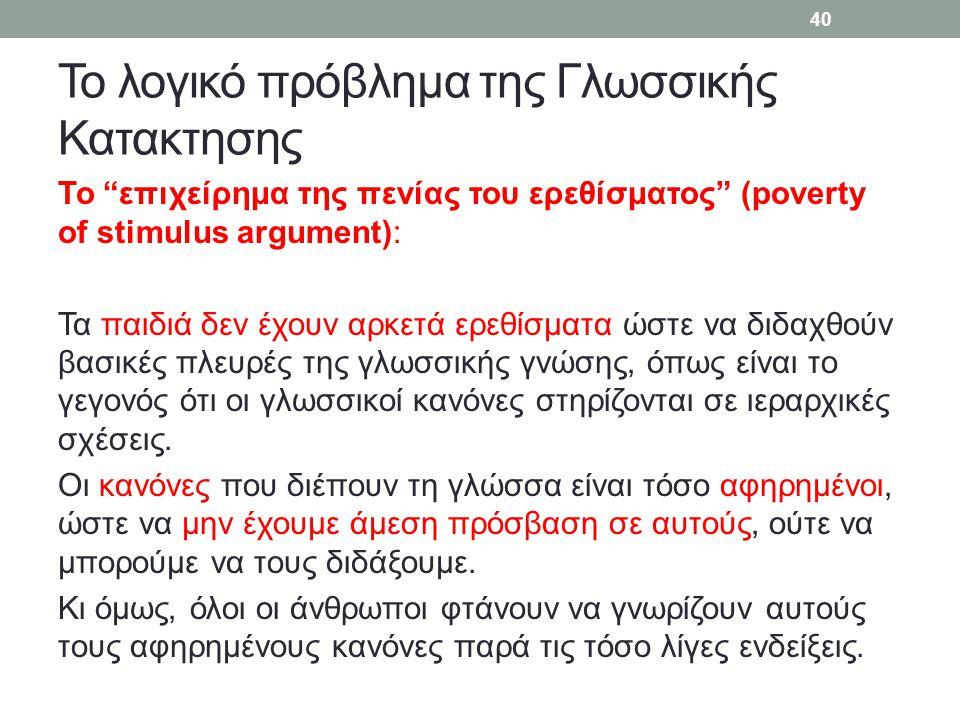 Το λογικό πρόβλημα της Γλωσσικής Κατακτησης