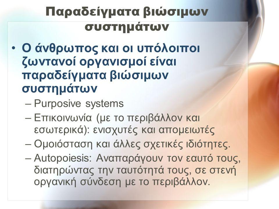 Παραδείγματα βιώσιμων συστημάτων
