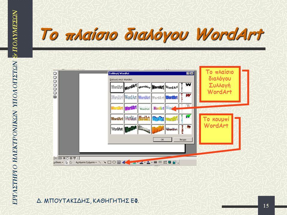 Το πλαίσιο διαλόγου WordArt