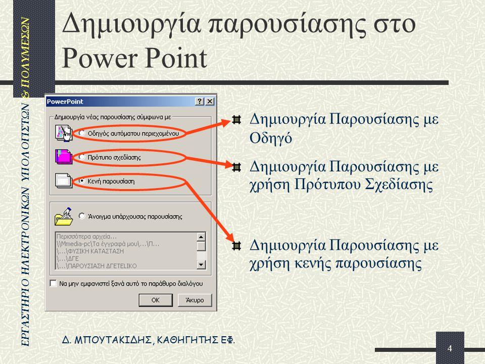Δημιουργία παρουσίασης στο Power Point