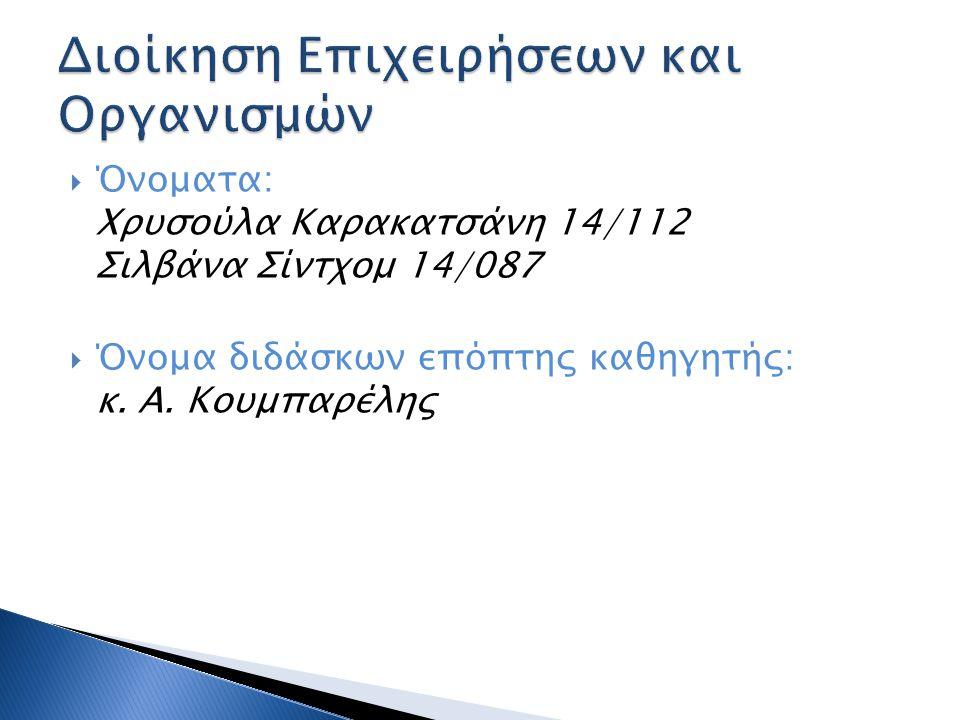 Διοίκηση Επιχειρήσεων και Οργανισμών